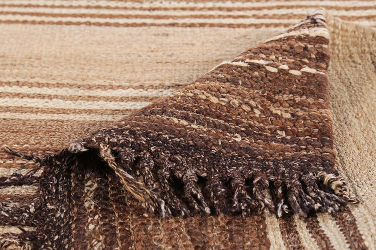Wool Contemporary Turkish Kilim Rug with Brown Stripes on Beige Field For Sale