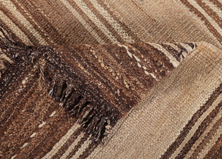 Contemporary Turkish Kilim Rug with Brown Stripes on Beige Field For Sale 2