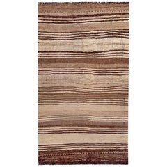 Contemporary Turkish Kilim Rug with Brown Stripes on Beige Field