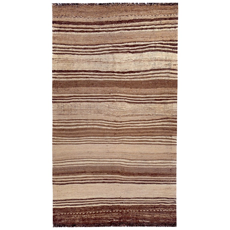 Contemporary Turkish Kilim Rug with Brown Stripes on Beige Field For Sale