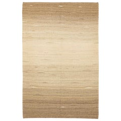 Contemporary Turkish Kilim Rug with Mixed Beige and Brown Geometric Details