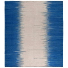 Contemporary Turkish Modernist Beige and Blue Kilim Wool Rug