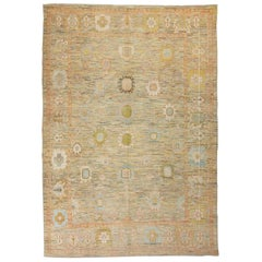 Contemporary Turkish Oushak Area Rug Weave with Pastel Flower Heads Pattern