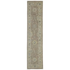 Contemporary Turkish Oushak Hallway Runner with Transitional Style