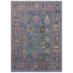 Contemporary Turkish Oushak Rug in Blue with Bright Pink & Yellow Floral Details