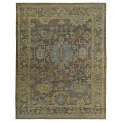 Contemporary Turkish Oushak Rug in Brown with Blue and Gold Floral Patterns