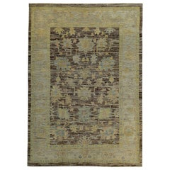 Contemporary Turkish Oushak Rug in Brown with Ivory and Gold Floral Patterns