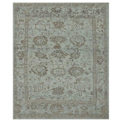 Contemporary Turkish Oushak Rug in Green with Gray Floral Detail