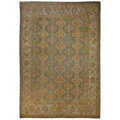 Contemporary Turkish Oushak Rug in Ivory and Green with Flower Medallions