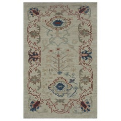 Contemporary Turkish Oushak Rug in Ivory with Red and Navy Floral Border