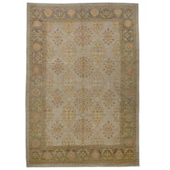 Contemporary Turkish Oushak Rug with Floral Medallions in Brown and Beige