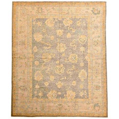 Contemporary Turkish Oushak Rug with Gray and Pink Floral Details