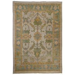 Contemporary Turkish Oushak Rug with Green and Blue Floral Patterns
