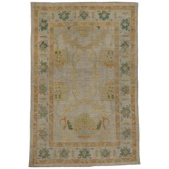 Contemporary Turkish Oushak Rug with Green and Orange Floral Design