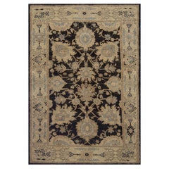 Contemporary Turkish Oushak Rug with Mixed Beige, Black and Gray Floral Details