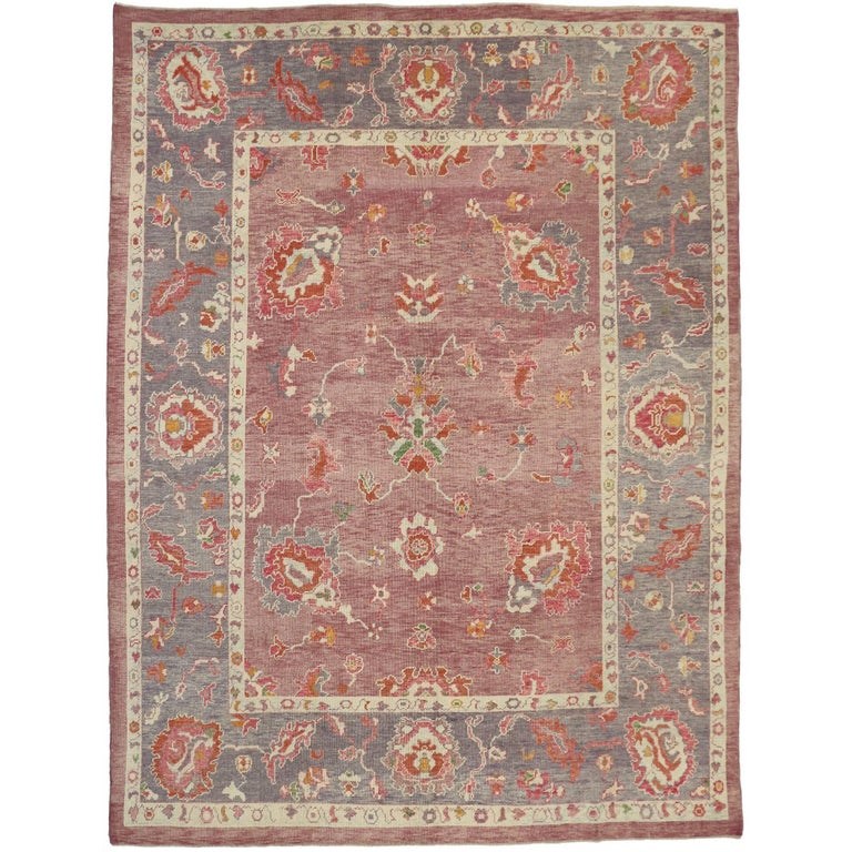 "Modern Oushak Rug: Contemporary Turkish ""Ihlara"" Rug With Natural Dyes For"