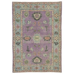 Contemporary Turkish Oushak Rug with Modern Style and Pastel Colors