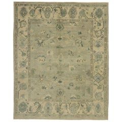 Contemporary Turkish Oushak Rug with Modern Transitional Style