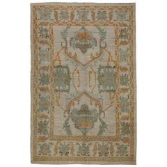 Contemporary Turkish Oushak Rug with Orange and Green Floral Patterns