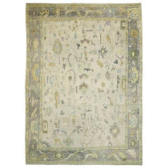 Contemporary Turkish Oushak Rug with Pastel Colors and French Transitional Style