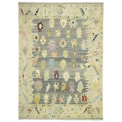 Contemporary Turkish Kilim Souf Rug with Pastel Colors and French Style