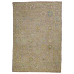 Contemporary Turkish Oushak Rug with Scattered Multicolored Floral Details