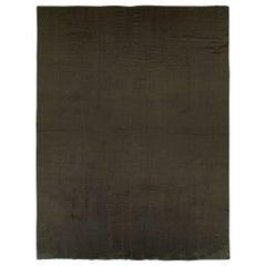 Contemporary Turkish Room Size Carpet in a Dark Brown to Black Minimalist Design