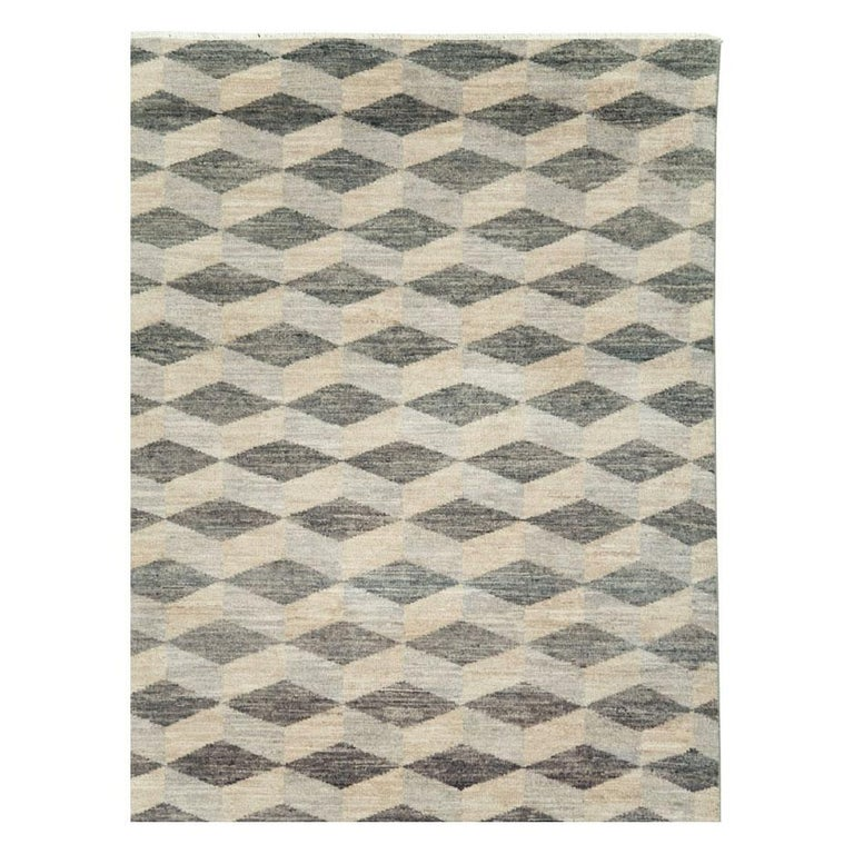 Modern Contemporary Turkish Room Size Carpet with a Neutral Toned Diamond Cube Pattern For Sale