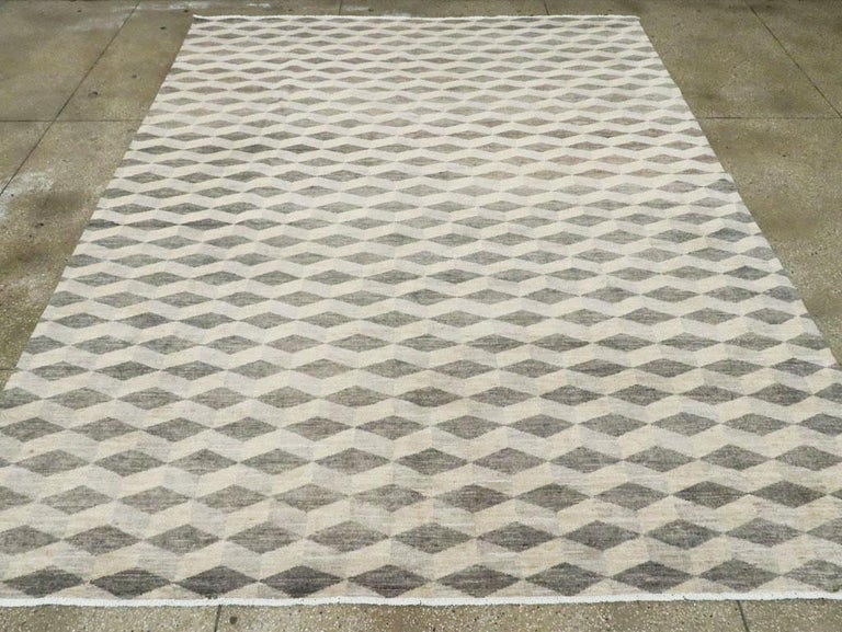 Hand-Knotted Contemporary Turkish Room Size Carpet with a Neutral Toned Diamond Cube Pattern For Sale