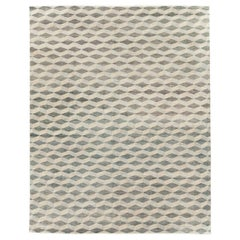 Contemporary Turkish Room Size Carpet with a Neutral Toned Diamond Cube Pattern