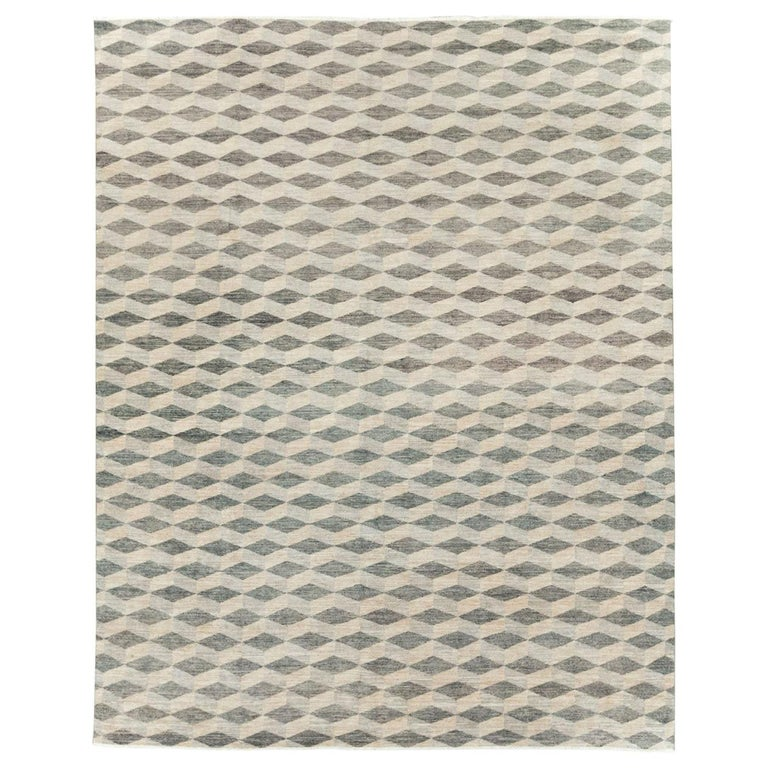 Contemporary Turkish Room Size Carpet with a Neutral Toned Diamond Cube Pattern For Sale