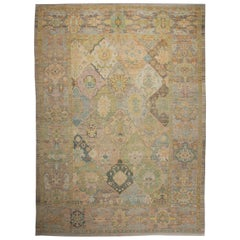Contemporary Turkish Rug Oushak Style with Colorful Diamond Flower Medallions
