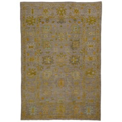 Contemporary Turkish Rug Oushak Weave with Rustic Flower Patterns on Beige Field
