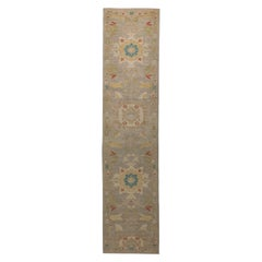 Contemporary Turkish Runner Rug with Sultanabad Woven Floral Patterns