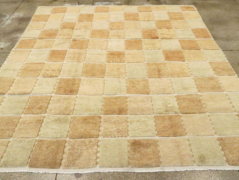 Hand-Knotted Contemporary Turkish Square Room Size Carpet Inspired by Swedish Rugs For Sale