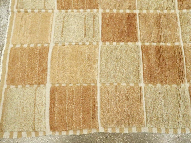 Contemporary Turkish Square Room Size Carpet Inspired by Swedish Rugs For Sale 1