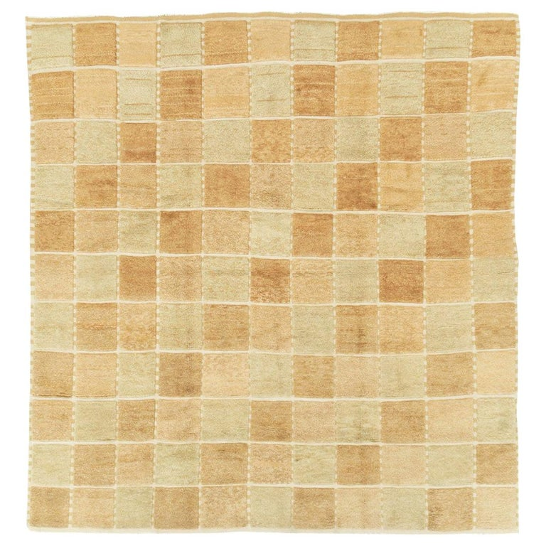 Contemporary Turkish Square Room Size Carpet Inspired by Swedish Rugs For Sale