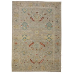 Contemporary Turkish Sultanabad Rug with Beige Field and Colored Herati Patterns