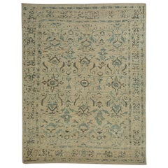 Contemporary Turkish Sultanabad Rug with Blue and Gray Floral Patterns