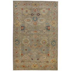 Contemporary Turkish Sultanabad Rug with Colorful Dragon and Blossom Details