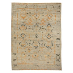 Contemporary Turkish Sultanabad Rug with Gray and Orange Botanical Details