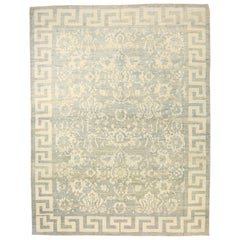 Contemporary Turkish Sultanabad Rug with Ivory Botanical Details on Gray Field