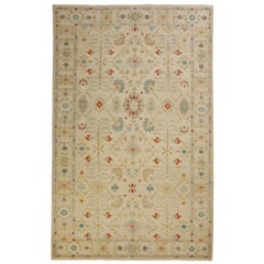 Contemporary Turkish Sultanabad Style Rug with Herati Patterns in Blue and Red