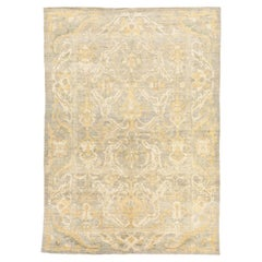 Contemporary Turkish Sultanabad Style Rug with Ivory and Brown Botanical Details