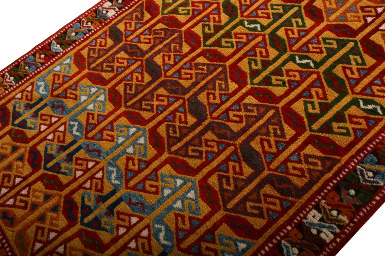 Tribal Contemporary Turkish Transitional Red and Gold Wool Rug For Sale