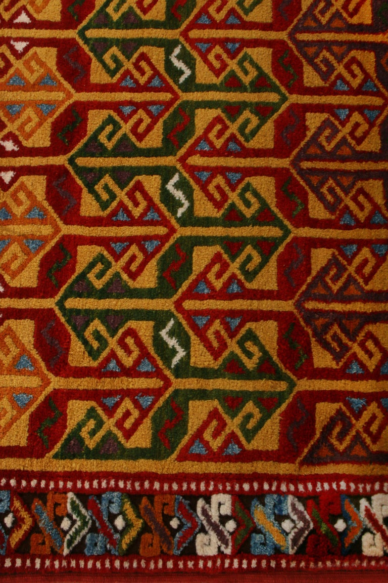 Hand-Knotted Contemporary Turkish Transitional Red and Gold Wool Rug For Sale