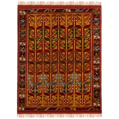 Contemporary Turkish Transitional Red and Gold Wool Rug