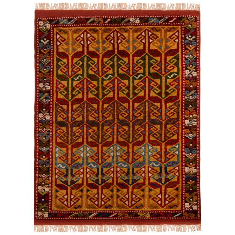 Contemporary Turkish Transitional Red and Gold Wool Rug For Sale