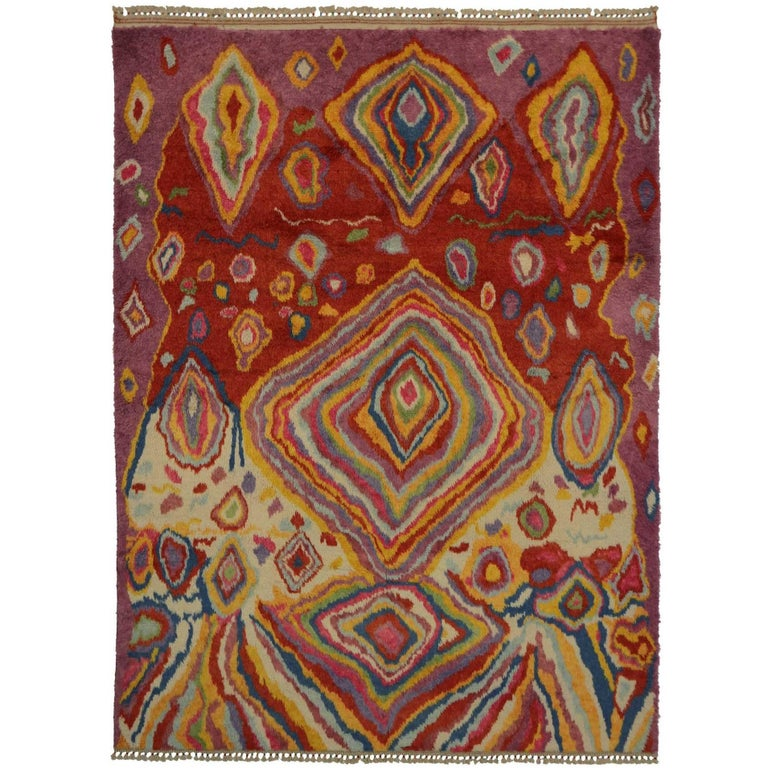 Contemporary Turkish Tulu Shag Rug with Abstract Style, Psychedelic Inspiration