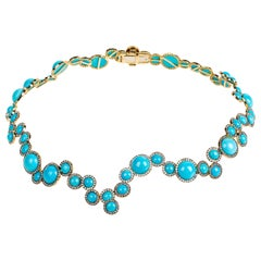 """Contemporary Turquoise and Diamond """"Choker"""" Necklace in Yellow Gold"""